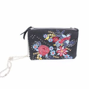 Topshop Ester Embroidered Leather Crossbody Bag